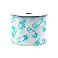 Baby Shower Polyester Wired Ribbon, 2-1/2-inch, 10-yard, Light Blue