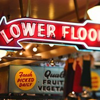 Neon Sign Lower Floor Pike Place Market Seattle Photo Art Print Poster 18x12