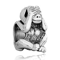 Pugster Silver Plated Hear No Evil Monkey Animal Bead Fits Pandora Charm Bracelet