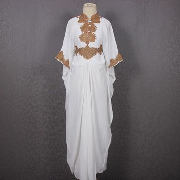 White Moroccan Maxi kaftan dress, Bridesmaid Wedding Dress, Embroidery Kaftan Long Dress, Dubai Kaftan Summer Party Oversized Dress