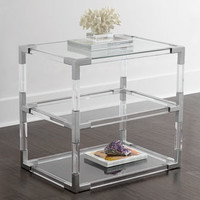 Jonathan Adler Jacques Lucite & Nickel Two-Tier Table