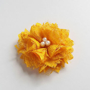 Yellow Lace Flowers Hair Clips, Yellow Fabric Flowers Lace Hair Accessories, Lace Fabric Flowers Hair Pieces, Floral Clips for Women