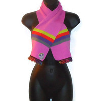 Pink Skull Scarf Short Winter Womens Accessory With Colorful Trim
