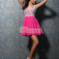 Glorious A-line Chiffon Short/Mini Appliques Homecoming Dresses - US $119.99