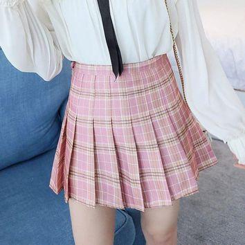 High waist ball pleated skirt Harajuku girls A-line Mini plaid sailor skirts Cosplay Japanese school uniform Student skirts C3