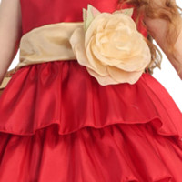 Taffeta Sash with Flower Pin by Blossom in 18 Color Choices for Girls Dresses