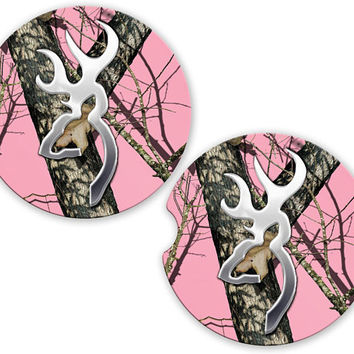Car Coasters Deer Head Pink Camo, Cup Holder Coaster, New Car Gift, Gift for Her, Sandstone Coaster Cup Car Holder