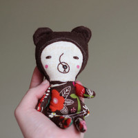 Stuffed Bear Mini Doll - Small Gift for Girls Forest Animal Baby Doll, Organic Cotton & Brown Wool Blend Felt Soft Toy