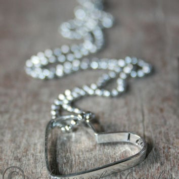I carry you in my heart forever heart pendant necklace - Sterling silver - Hidden message - Secret message