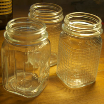 Vintage Mason Jars Set of 3 all different/Square Jars