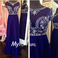 Royal Blue Cap Sleeves Chiffon Prom Dress With Beaded Sheer Bodice
