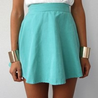 FESTIVAL PASTEL TURQUOISE HIGH WAISTED CIRCLE SKATER SKIRT 6 8 10 12