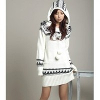 Refreshing and National Series Snow Patterns Decorated Collar White Long Sleeves Knitted Hood Dress For Women - Sammydress.com