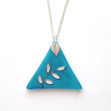 Glass Pendant in Turquoise with Silver Leaves - Silver Plated Chain & Bail, Glass Necklace