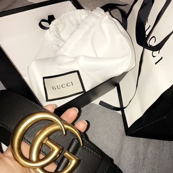 New Black Gucci Marmont Belt with Box and Dustbag 4CM