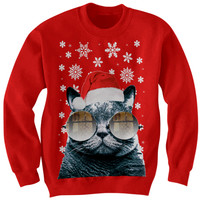FUNNY CHRISTMAS SWEATER SANTA CAT SWEATER CAT WITH GLASSES CHRISTMAS SWEATER CHRISTMAS GIFTS #HOLIDAYDEALS #UGLYCHRISTMASSWEATER FUNNY SWEATERS