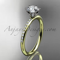 14kt yellow gold diamond unique engagement ring, wedding ring ADER145