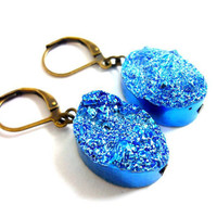 Titanium Quartz Metallic Electric Blue Druzy Earrings by AstralEYE