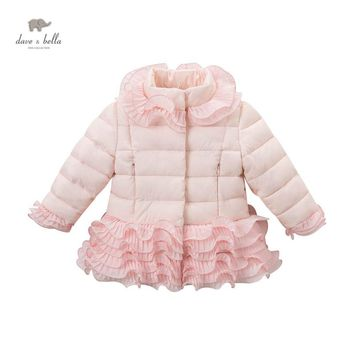 DB4058 DAVEBELLA girl pink polyester jacket winter jacket children outerwear with ruffle