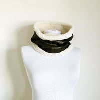 Leather Fur Neckwarmer, Antique Leather Unisex scarf, Men scarf, Women scarf, Fur Neckwarmer