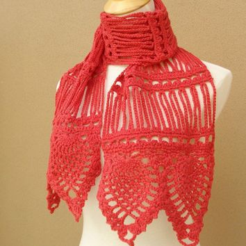 Pauline Wool Scarf Coral by gsakowskidesigns on Etsy