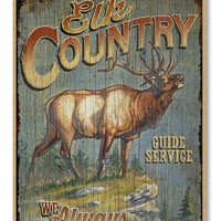 "Elk Country Guide Service Rustic Advertising Wooden 7"" x 10.5"" Sign"