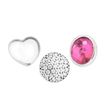 Pandulaso July Petites Fit Floating Locket Necklaces 925 Sterling Silver Love Clear CZ Charms Necklaces & Pendants