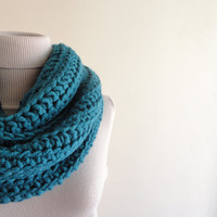 Chunky Infinity Scarf Teal Loop Circle Oversized Hood Scarf Thick Scarf Unisex