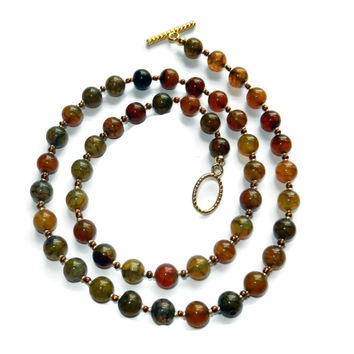 Earthy Mix Fire Crackle Agate Beaded Necklace