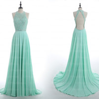 backless prom dress, sexy evening dress, long prom dress, unique prom dress, chiffon prom dress, mint homecoming dress, formal dresses