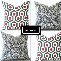 Modern Christmas pillow set, two red geometric and grey pillow covers,16 inch,18 inch,20 inch