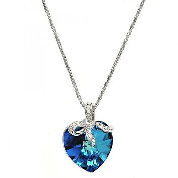 Rhodium Plated Fancy Necklace, Heart Design, with Swarovski Crystals and Crystal, Rhodium Tone