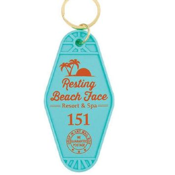 Resting Beach Face Motel Style Keychain in Blue