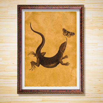Lizard and butterfly poster Animal print Vintage decor