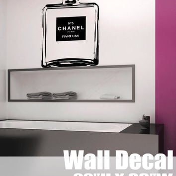 Chanel No 5 stencil large bottle Wall Art DECAL cc coco chanel paris Vinyl sticker home decor bathroom bedroom parfume glam