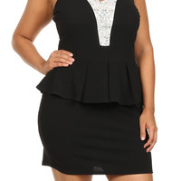 Jeweled Bodycon Peplum Dress - Black - Plus Size - 1x - 2x - 3x