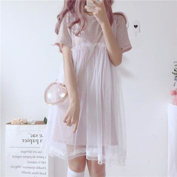 Harajuku kawaii Summer New Fairy Shiny Loose Short Sleeve Dress + sweet lace Sling mesh Gauze Dress Two Piece Set women
