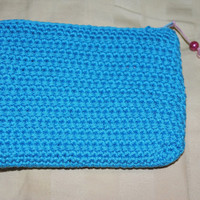 Crochet Pouch, Coin Purse, Light Blue Pouch, Clutch, Makeup Bag