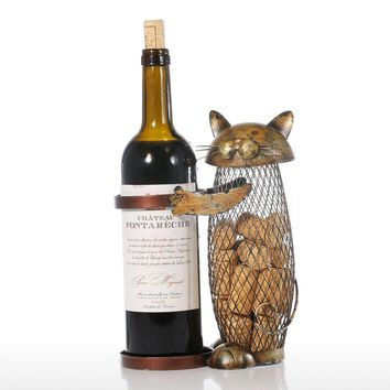 Handcrafted Metal Wine Holder with Cat Shaped Cork Saver