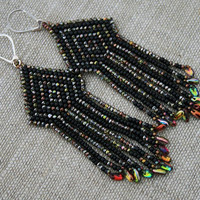 CHANDELIER EARRINGS victorian  DANGLE earrings statement  long seed beads beaded fringe black native fringe earrings, diamond earrings