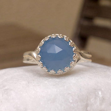 Sky Blue Chalcedony Silver Ring Adjustable Ring with Blue Gemstone Crown Bezel Silver Ring Elegant Pink Ring Statement Ring Pastel Jewelry