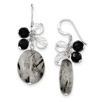 Sterling Silver Black Agate/Crystal/Tourmalinated Qtz Earrings