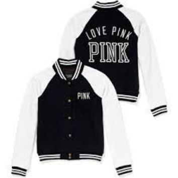 Victoria Secret Love Pink Varsity Jacket Black White S