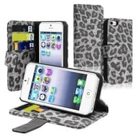 eFuture Gray Leopard Leather Flip Stand Wallet Case Cover with ID Credit Card Slot for Apple iPhone 5 5G +eFuture's nice Keyring