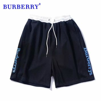 Burberry Letter embroidery contrast color drawstring shorts fashion wild casual sweatpants Black Sides Open Mark