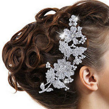 Bridal Headpiece Wedding Rhinestone Pearl Crystal Floral Hair Comb Victorian Style Hollywood Glamour