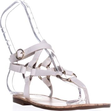 Circus by Sam Edelman Bree Flat Gladiator Sandals, Bright White, 7 US / 37 EU