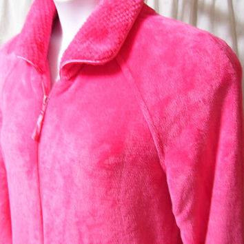 Waltz Robe, Hot Pink, Plush Terry, Separating Front Zip, Size M Medium, Lounging, Winter Cozy, Sleepwear, Coral Bay