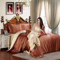 100% Pure Silk Bedding Set Ice Satin Elegant Bed Set Bedclothes Duvet Cover Flat Sheet Pillowcases Bed Sheet Home Textile