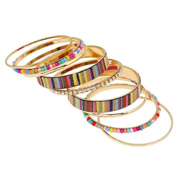 Beaded Trim Layered Bracelet 9pcs